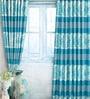 Blue Jacquard Premium Door Curtain- Set of 2 by Cortina