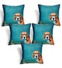 Cortina Blue Polyester 16 x 16 Inch Velvet Dog Print Cushion Covers - Set of 5