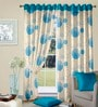 Cortina Blue & White Polyester Round Geometric Window Curtain- Set of 2