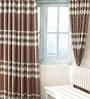 Cortina Brown Jacquard Premium Wave Door Curtain- Set of 2