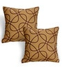 Cortina Brown Polyester 16 x 16 Inch Abstract Cushion Covers - Set of 2