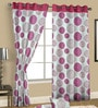 White & Pink Satin Abstract Door Curtain - Set of 2 by Cortina