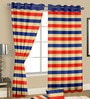 Multicolour Satin Geometric Door Curtain - Set of 2 by Cortina