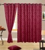 Embossed Red Polyester Window Curtain- Set of 2 by Cortina
