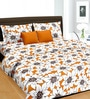 Cortina Yellow & White Cotton Floral 100 x 90 Inch Bed Sheet (with Pillow Covers)