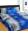 Cortina Gray & Blue Cotton Abstract 100 x 90 Inch Bed Sheet (with Pillow Covers)