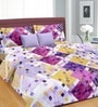 Cortina Purple Cotton Floral Double 100 x 90 Inch Bed Sheet (with Pillow Covers)