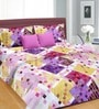 Cortina Pink Cotton Floral 100 x 90 Inch Double Bed Sheet (with Pillow Covers)