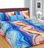 Cortina Blue Cotton Floral 100 x 90 Inch Double Bed Sheet (with Pillow Covers)
