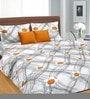 Cortina Gray & Orange Cotton Floral Double 100 x 90 Inch Bed Sheet (with Pillow Covers)