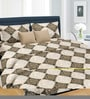 Cortina Beige Cotton Abstract 100 x 90 Inch Bed Sheet (with Pillow Covers)