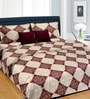 Cortina Maroon Cotton Abstract 100 x 90 Inch Bed Sheet (with Pillow Covers)
