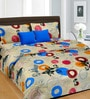 Cortina Blue Cotton Abstract 100 x 90 Inch Bed Sheet (with Pillow Covers)