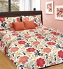 Cortina Coral Cotton Floral 100 x 90 Inch Bed Sheet (with Pillow Covers)