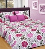Cortina Purple Cotton Floral 100 x 90 Inch Bed Sheet (with Pillow Covers)