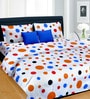 Multicolor Satin Polka Dots 100 x 90 Inch Bed Sheet (with Pillow Covers) by Cortina
