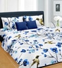White & Blue Satin Bed Sheet - Set of 3 by Cortina