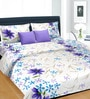 Cortina Purple & White Satin 100 x 90 Inch Double Bed Sheet (with Pillow Covers)