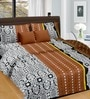 Cortina Brown Band Satin Floral 100 x 90 Inch Double Bed Sheet (with Pillow Covers)