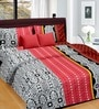 Cortina Red Band Satin Floral 100 x 90 Inch Double Bed Sheet (with Pillow Covers)