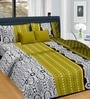 Cortina Olive Band Satin Floral 100 x 90 Inch Double Bed Sheet (with Pillow Covers)