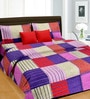 Cortina Red Satin Striped & Checkered 100 x 90 Inch Bed Sheet (with Pillow Covers)