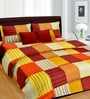 Cortina Maroon Satin Striped & Checkered 100 x 90 Inch Bed Sheet (with Pillow Covers)