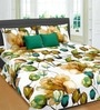 Cortina Premium Tulip & Lilie Green 100% Cotton Double Bed Sheet (with Pillow Covers) -