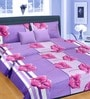 Premium Stripes Purple 100% Cotton Double Bed Sheet (with Pillow Covers) - by Cortina