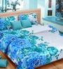 Premium Paeonia Blue Satin Queen Size Bed Sheet - Set of 3 by Cortina