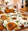 Premium Floral Brown Satin Double Bed Sheet (with Pillow Covers) - by Cortina