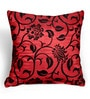 Cortina Red Polyester 16 x 16 Inch Velvet Floral Cushion Cover