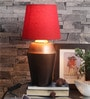 Jaipuri Copper Gradiation Table Lamp With Red Shade by Courtyard
