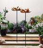 Golden Iron Lotus Garden Sticks Tea Light Holder - Set of 2 by Courtyard