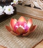 Copper Iron Single Tea Light Holder with Orange Glass by Courtyard