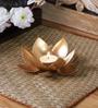 Gold Iron Lotus Single Table Tea Light Holder by Courtyard