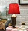 Shobha Antique Brass Table Lamp with Red Shade by Courtyard