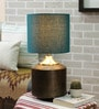 Darbar Antique Brass Table Lamp with Teal Shade by Courtyard