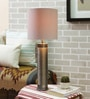 Courtyard Nagaband Grey Metallic Table Lamp With White Texture Shade
