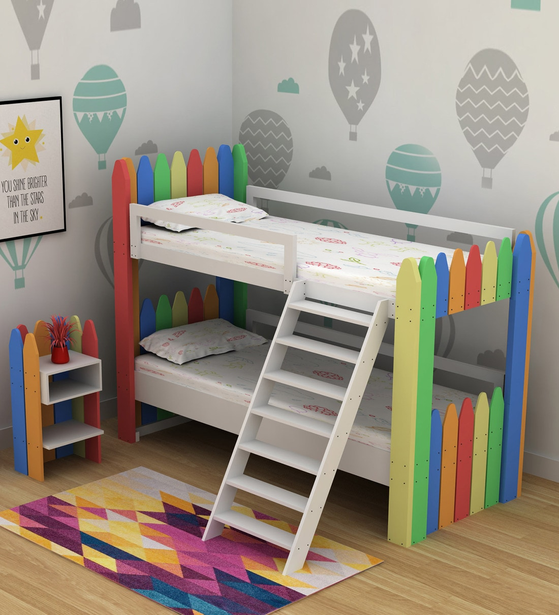 Picture of: Buy Crayon Birch Wood Bunk Bed Night Stand By Casacraft Online Standard Bunk Beds Bunk Beds Kids Furniture Pepperfry Product