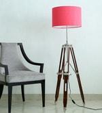 Handloom Pink Fabric Tripod Floor Lamp