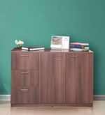Credenza Cabinet & Sideboard with 3 Drawers in Walnut Finish