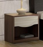 Crescent Bedside Table in Dark Acaica Finish