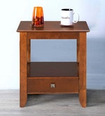 Crest Bedside Table with Drawer in Walnut Finish