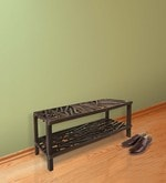 Criss Cross Shoe Rack with 2 Shelves in Dark Brown Colour