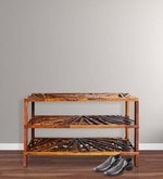 Criss Cross Shoe Rack with 3 Shelves in Warm Rich Finish