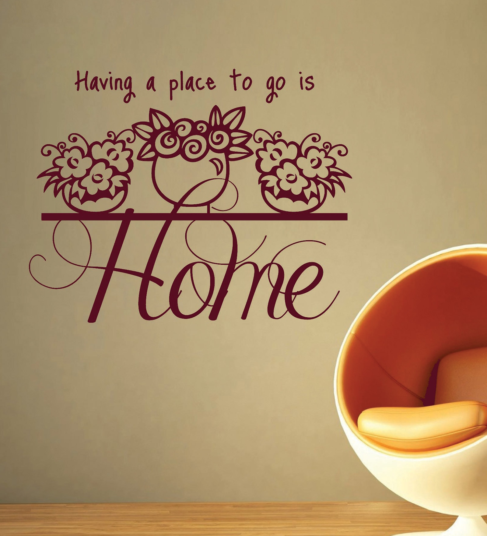 Vinyl Home A Place To Go One Wall Sticker in Burgundy by Creative Width