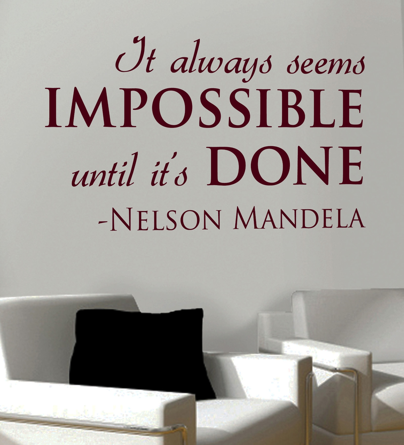 Vinyl Impossible Done Two Wall Sticker in Burgundy by Creative Width