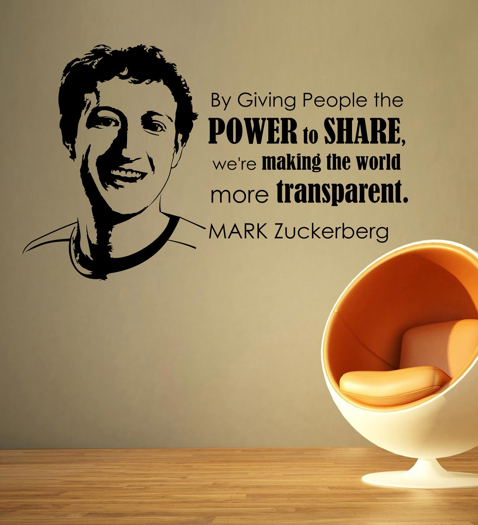 Vinyl Mark Zuckerberg Wall Sticker in Black by Creative Width