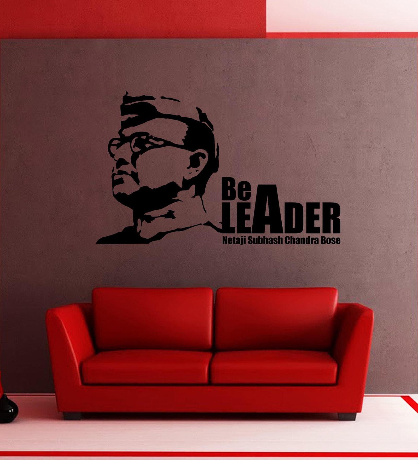 Vinyl Netaji Bose Wall Sticker in Black by Creative Width
